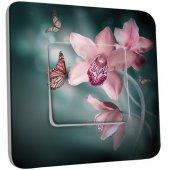 Interrupteur Décoré Poussoir Fleurs Papillons roses 2