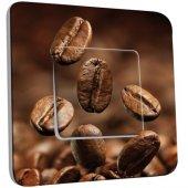 Interrupteur Décoré Poussoir Grains de café Zoom