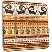 Interrupteur Décoré Poussoir Motif Africain Design 3