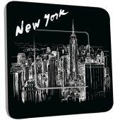 Interrupteur Décoré Poussoir New York  Black&White 1