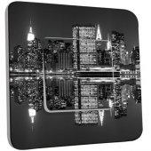 Interrupteur Décoré Poussoir  New York Manhatan Black&White