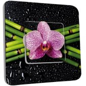 Interrupteur Décoré Poussoir Orchidée 1
