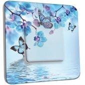 Interrupteur Décoré Poussoir Orchidée Papillon Bleu Orchidée Papillon
