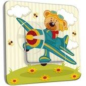 Interrupteur Décoré Poussoir Ourson dans l'Avion Enfant