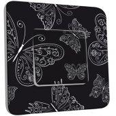 Interrupteur Décoré Poussoir Papillons Black&White 6
