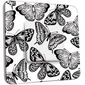 Interrupteur Décoré Poussoir Papillons Design Black&White