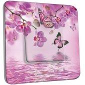 Interrupteur Décoré Poussoir Papillons Orchidées 10