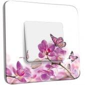 Interrupteur Décoré Poussoir Papillons Orchidées 11