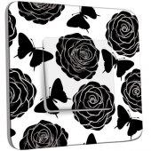 Interrupteur Décoré Poussoir Roses design Black&White
