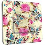 Interrupteur Décoré Poussoir Roses Papillons Abstrait