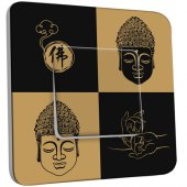 Interrupteur Décoré Simple Bouddha Zen Black&Gold