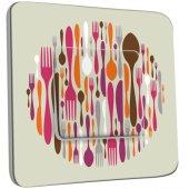 Interrupteur Décoré Simple Cuisine Couverts Design  2