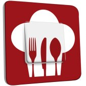 Interrupteur Décoré Simple Cuisine Couverts Red&White