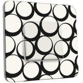 Interrupteur Décoré Simple Design Ronds Black&White