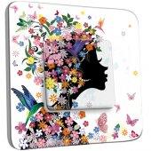 Interrupteur Décoré Simple Femme en Fleurs Design