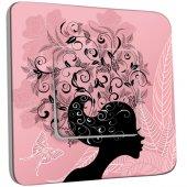 Interrupteur Décoré Simple Femme en Fleurs Design 4