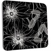 Interrupteur Décoré Simple Fleurs Abstraits Black&White
