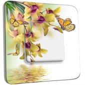 Interrupteur Décoré Simple Fleurs Papillons 10