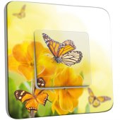 Interrupteur Décoré Simple Fleurs,Papillons Jaunes