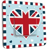 Interrupteur Décoré Simple London Coeur Drapeau 1