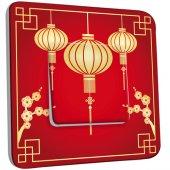 Interrupteur Décoré Simple Motif Chinois Lampions