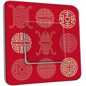 Interrupteur Décoré Simple Motif Chinois Rouge