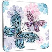 Interrupteur Décoré Simple Papillon Fleur