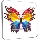 Interrupteur Décoré Simple Papillon Multicoloré Design