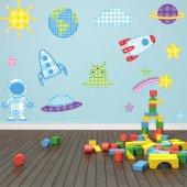 Kit Autocolante decorativo  12 infantil  espaço