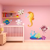 Kit Autocolante decorativo infantil peixe com coberto