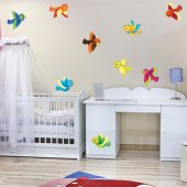 Autocollant Stickers enfant kit 9 oiseaux