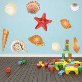 Autocollant Stickers enfant kit 10 coquillages
