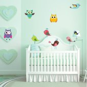 Autocollant Stickers enfant kit 6 oiseaux 3 hiboux