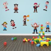 Autocollant Stickers enfant kit 9 pirates