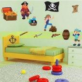 Autocollant Stickers enfant kit 3 pirates et accessoires