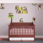 Autocollant Stickers enfant kit 7 singes