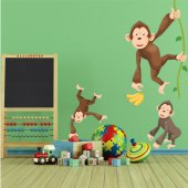 Autocollant Stickers enfant kit 3 singes