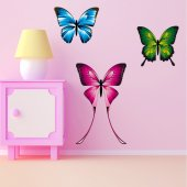 Kit Vinilo decorativo infantil 3 mariposas