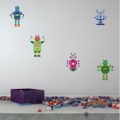 Kit Vinilo decorativo infantil 5 robots