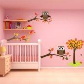 Kit Vinilo decorativo infantil aves con búhos