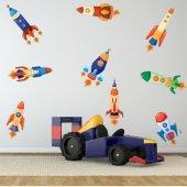 Komplet 9 naklejek Dla Dzieci - Rakiety kosmiczne