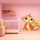 Naklejka ścienna Dla Dzieci - Małpka z bananem