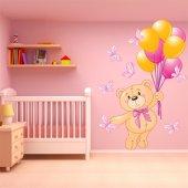 Naklejka ścienna Dla Dzieci - Niedźwiadek i Balony