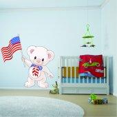 Naklejka ścienna Dla Dzieci - Niedźwiadek i flaga USA