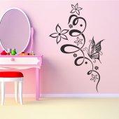 Naklejka ścienna - Kwiat i Motyle