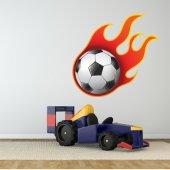 Naklejka ścienna - Piłka nożna w płomieniach
