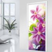 Naklejka na Drzwi - Różowe Kwiaty