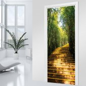 Naklejka na Drzwi - Schody w lesie
