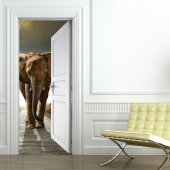 Naklejka na Drzwi - Słoń
