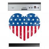 Naklejka na Zmywarkę - Serce USA